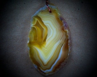 Agate Pendant Necklace, Banded Agate Necklace,Yellow Gold Agate Necklace, Agate and Copper Necklace. Free Shipping