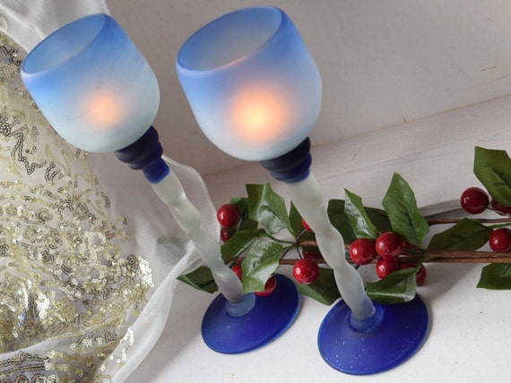 Frosted glass twisted stem pair of blue candle holders, 9.5 inch, table center piece, housewarming gift, Christmas table, wedding gift,