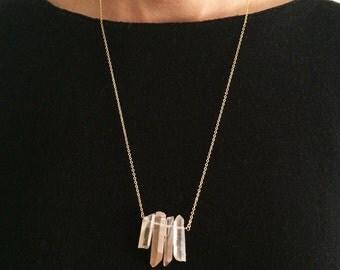 Light rose quartz necklace, long necklace, crystals necklace, gold plated necklace, minimal necklace, geometric necklace, rose quartz SHAPES