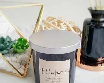 100% Soy Wax -Silver Lid -  Scented Candle - Crackling Wood Wick - Double Wick - 10 oz Jar - Handcrafted - Glossy Black Glass Jar - Gift