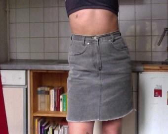 90s washed grey riped off denim skirt, highwaisted denimskirt gray