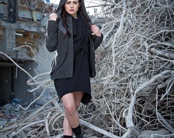 Jacket Coat Jacke Mantel Wool Grey Grau Size M Edgy Unique