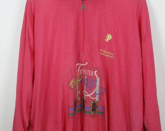 Vintage windbreaker, 90s ProAce, 90s clothing, pink track jacket, vintage tennis