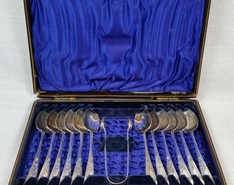 1893 Antique English Spoons/Sugar Tongs, Boxed Set Victorian Service, Made in Sheffield, Set of 12, Original Wood Box, Silver Plate Utensils