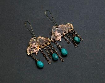 Turquoise earrings Handmade earrings Copper earrings Cloud earrings Cloud jewelry Dangle earrings Nature jewelry Genuine turquoise Natural