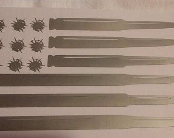 Bullet Flag / Vinyl Decal / Car Decal / american flag / american flag Decal / Yeti Decal / bullet Flag / Second Amendment / bullets / decal