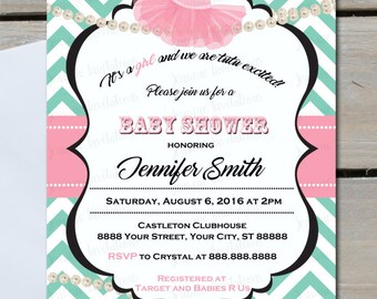 Little Girls Are Tutu Cute, Baby Girl Baby Shower, Pearls, Chevron,Baby,Printed or Digital File*** FREE SHIPPING