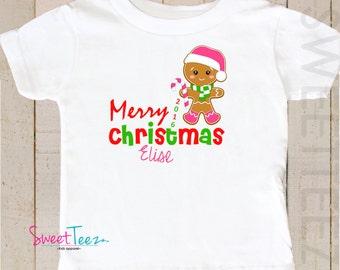 Merry  Christmas Shirt Gingerbread man Baby Bodysuit Toddler shirt  Personalized