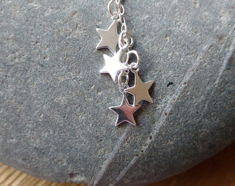 Falling Star Sterling Silver Drop Necklace, Star Necklace, Star Pendant, Drop Necklace, Drop Pendant, Silver Star Necklace, Silver Star