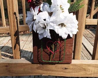 Mason Jar String Art - White Poinsettia Flowers - Mason Jar Vase - Gift for Her - Home Decor - Flower Arrangement - Ready to Ship