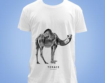 T-shirt blanc coton organique dromadaire TENACE (resolute, tenacious, persevering Arabian camel) animal totem 2016 illustration