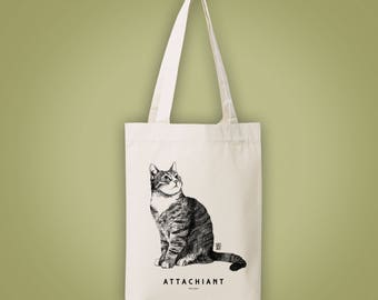 Sac cabas en toile recyclée (recycled woven tote bag, shopping bag) chat ATTACHIANT sweet annoying cat animal totem illustration