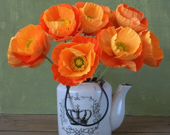 FREE SHIPPING! Paper poppies for wedding or home decor, wedding flowers, orange poppies, creape paper flowers, poppies bouquet