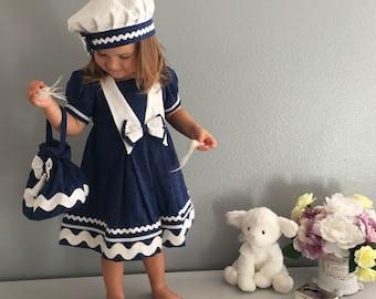 Girls Nautical dress , Girls Anchor Dress, Girls Dress,  Girls Summer Dress, Toddler Dress, Girls 2T Dress, Girls Easter Dress, Pupolino.