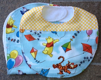 Winnie The Pooh Baby Bib and Burp Cloth, Cotton and Terry Cloth, One Size Fits All, Buy Individual Pieces or as a Set