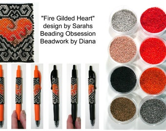 Fire Gilded Heart by Sarahs Beading Obsession beaded pen kit (pattern sold separately)