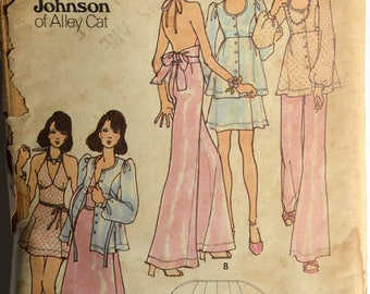 1970s Butterick Vintage Sewing Pattern 6908, Size 10; Misses' Evening Smock, Top, Pants and Skirt; Betsey Johnson Alley Cat