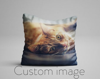 Custom Photo Pillow for Cat Lovers, Custom Pet Photo Pillow, Cat Lover Customized Picture Pillow, Photo On A Pillow, Customizable Pillows
