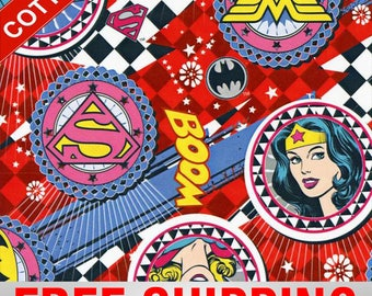 """Cotton Fabric Girl Power Wonder Woman Batgirl Supergirl Style 23406 45"""" Wide  Free Shipping"""