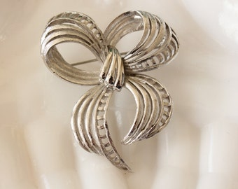 Vintage Monet Bow Brooch Pin Silver Tone