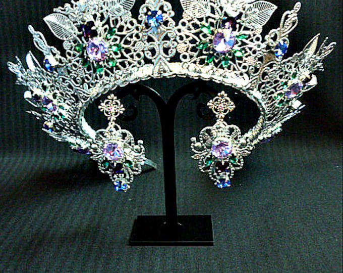 Silver Light purple Emerald blue rhinestone Wedding Bridal Crown crystal Taira Earrings Jewelry Set head piece Royal diamond birthday event