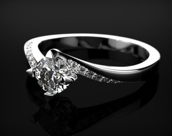 Conflict Free White Sapphire Engagement Ring White Gold White Sapphire Ring White Gold Engagement Ring Diamond Alternative