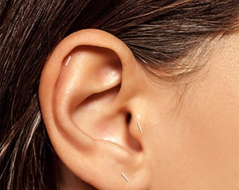 Silver Cartilage Stud, Silver Helix Stud, Silver Tragus Stud, Silver Bar Stud, Tiny Stud Earrings, Bar Earrings, Cartilage Stud, Staple Stud