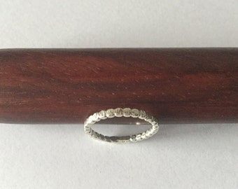 Sterling Silver Stacker Ring- Textured, Hammered Bead Ring. Thumb, Finger, Toe Ring.
