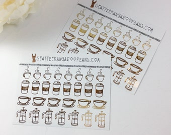 Gold Foil Coffee Icon Stickers (29 Glossy Planner Stickers) || SeattleKangarooPlans