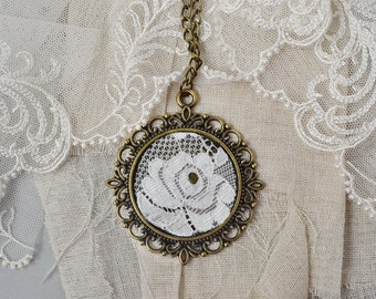 2 anniversary Cotton Lace pendant 2nd cotton anniversary rose flower necklace bronze pendant  Cotton anniversary present