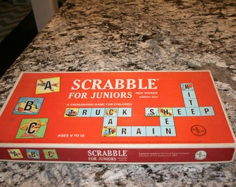 1964 Scrabble For Juniors//Edition Two//Crossword Game For Children//Vintage Board Game