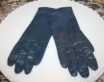 Fownes Blue Leather Gloves//Driving Gloves//Acrylic Lining//Vintage Leather Gloves