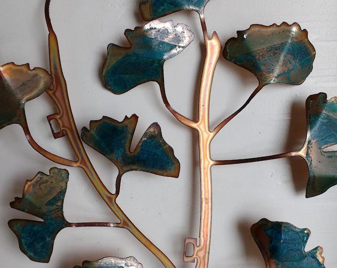 Patina Ginkgo Leaves Wall Hanging