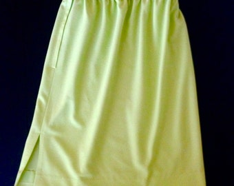 60s Key Lime ~ Mid Length Skirt with Side Slit, A-Line, Size Medium
