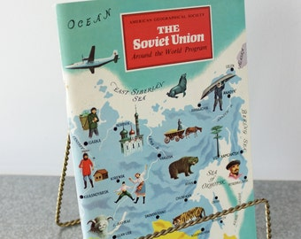 Soviet Union American Geographical Society Travel Booklet, Unused Stickers Included, Around the World, Travel Guide, Ephemera