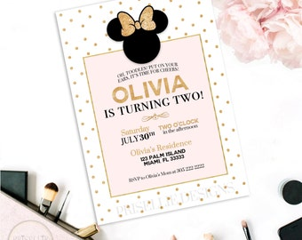 Minnie Mouse Invitation, Pink and Gold Minnie Mouse Birthday Invitation, Minnie Mouse Birthday Invitation, Elegant Minnie Mouse Birthday