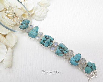 Tibetan Turquoise and Moonstone Sterling Silver Bracelet