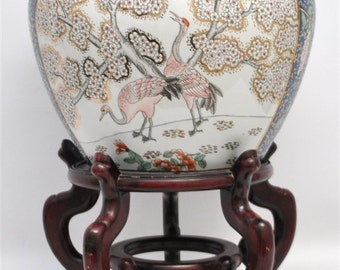 Antique Porcelain Fish Bowl with Rosewood Stand
