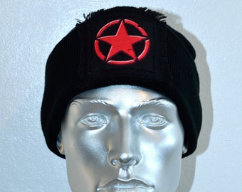 Red Star Black Beanie Hat - Punk Clothing - Iconic Red Star