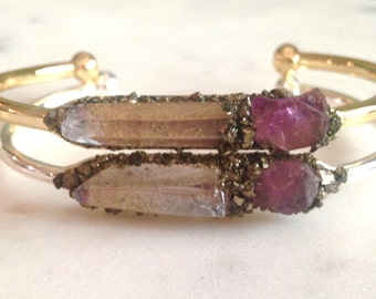 Amethyst, chakra jewelry, amethyst bracelet, angel jewelry, gift for her, chakra crystals crown, amethyst cuff, Raw amethyst gold bangle,