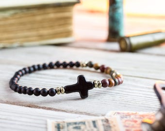 4mm - Matte black onyx & picasso jasper beaded stretchy bracelet with black cross, made to order bracelet, mens bracelet, beaded bracelet