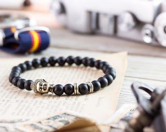 6mm - Matte black onyx beaded silver Buddha stretchy bracelet, made to order yoga bracelet, mens bracelet, womens bracelet