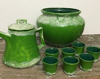 Beautiful Rare Pottery Green Vintage Tea Set with A vase Mexican Ceramic 1986