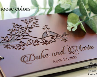 Custom Guest Book Wedding Guest Book Rustic Wedding Guestbook Wood Wedding Guest book Wood Custom Engraved Guest Book Personalized