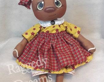 Handmade Primitive Folk Art Gingerbread Girl Doll - Red and Mustard Homespun Apron - Mustard Star Print Dress - Country Kitchen Home Decor