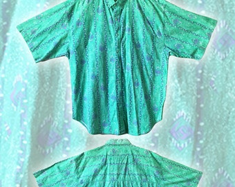 Vintage 80s Sea Foam Green Abstract Surf Print Cotton Shirt — XL