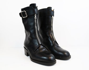Vintage Black Leather Zip-Up Moto Boots size 36 or US Womens 6