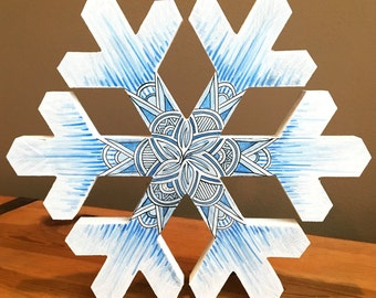 Winter Home Decor - Original Art - Hand Drawn - Seasonal Decor - Wooden Snowflake - Tribal Art - Zentangle - Let It Snow - Markers