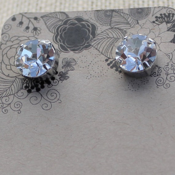 SALE-10mm round Preciosa Crystal Earrings feature a Rhodium tone post setting for pierced ears