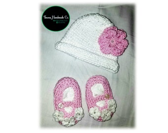 Precious Crochet Baby Hat with Pink Flower and Pearl Accent with Matching Shoes